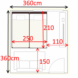 6畳の部屋に家族3人で使う連結ベッドを置いたイメージイラスト
