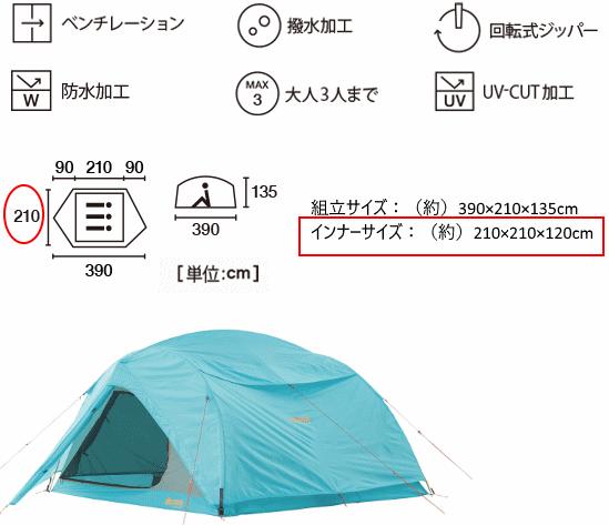 LOGOSの3人テントの仕様