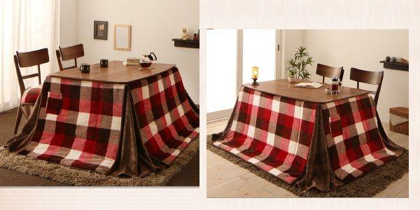 ハイタイプのこたつテーブルを椅子と合わせた例