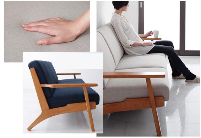 木肘のソファ